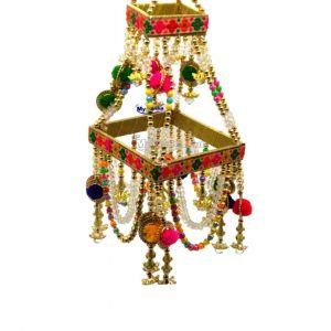 Jhoomar With Beads & Pompom Decoration
