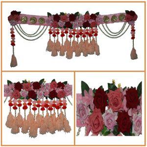 Artificial Rose Decorated Pink Bhandanwar/Toran For Home Decoration