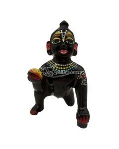 Beautiful Black Normal Laddu Gopal Painted Idol ( 4 Number )