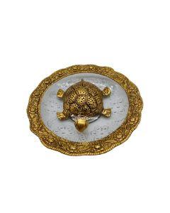 Metal Feng Shui Tortoise on Plate Showpiece